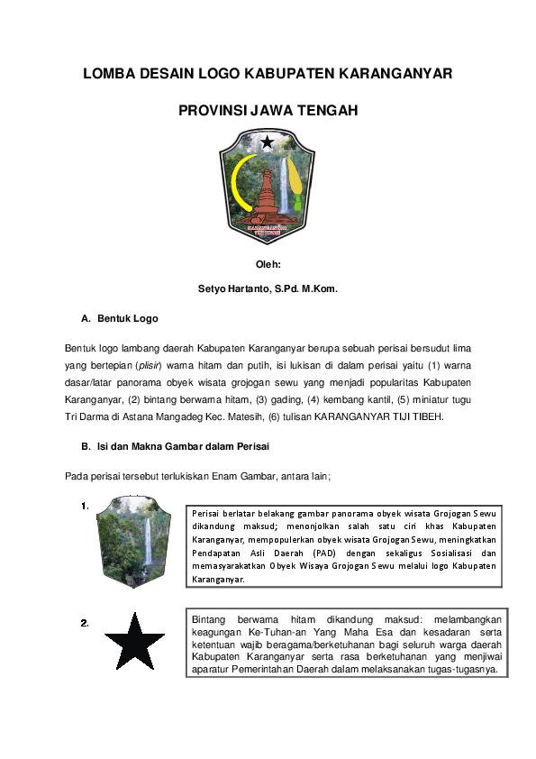 Pdf Lomba Desain Logo Kabupaten Karanganyar Provinsi Jawa Tengah Setyo Hartanto And Setyo Hartanto Academia Edu