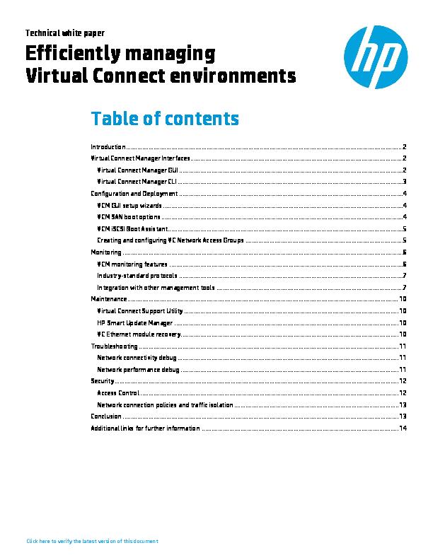PDF) Efficiently managing Virtual Connect environments