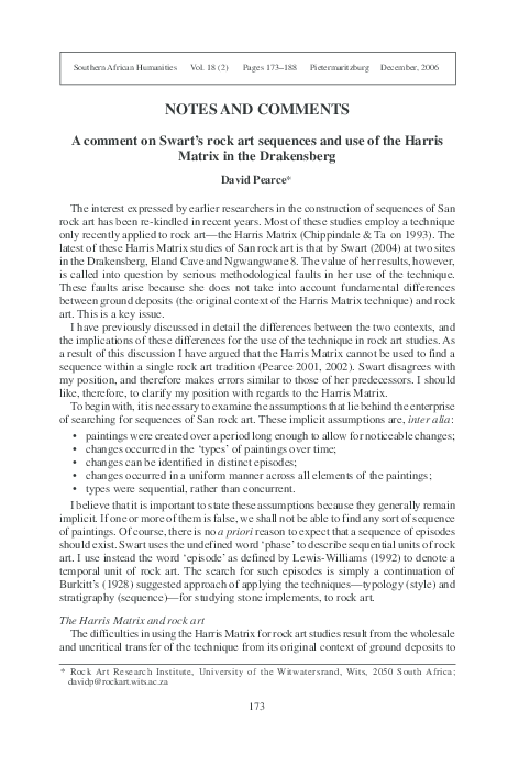 PDF) A comment on Swart's rock art sequences and use of the