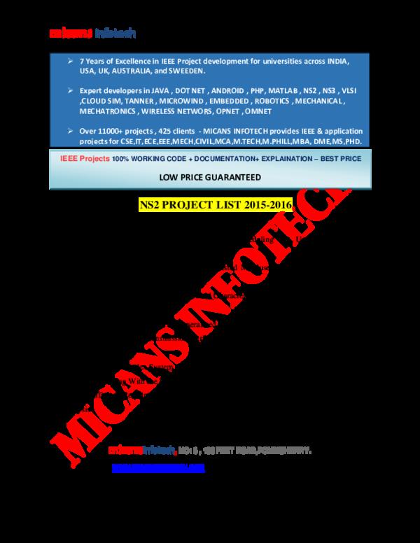 PDF) NS2 PROJECTS 2015 2106 WIRELESS SENSOR NETWORKS FINAL