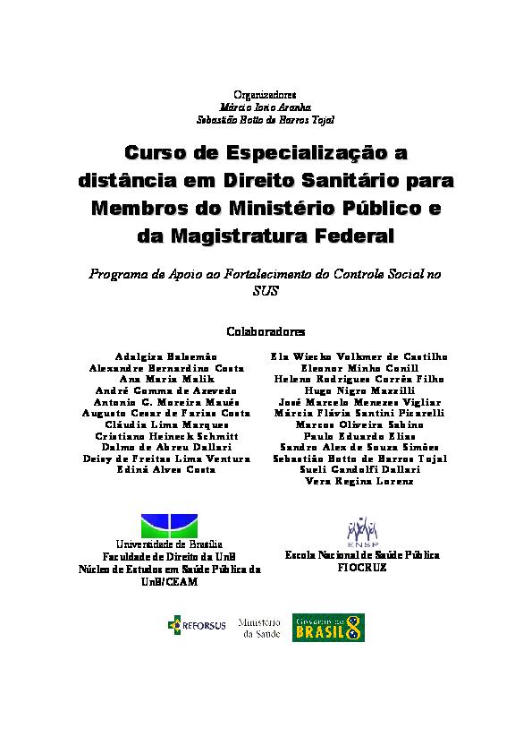 curso de especialização a distância em direito sanitário para