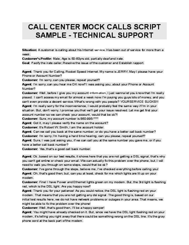 DOC) CALL CENTER MOCK CALLS SCRIPT SAMPLE -TECHNICAL SUPPORT