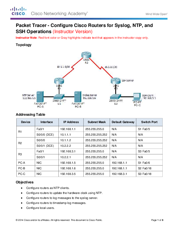 PDF) Packet Tracer -Configure Cisco Routers for Syslog, NTP