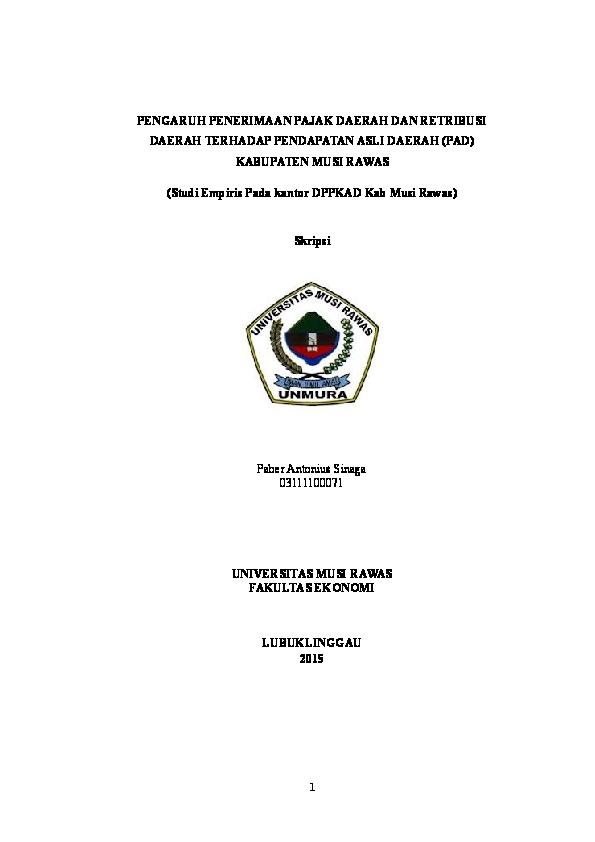 Skripsi Pajak Daerah Dan Retribusi Daerah Terhadap Pad Pejuang Skripsi