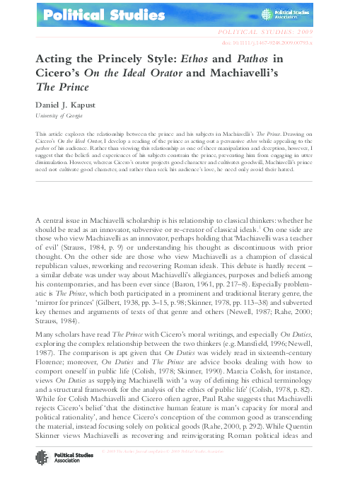 PDF) Acting the Princely Style: Ethos and Pathos in Cicero's