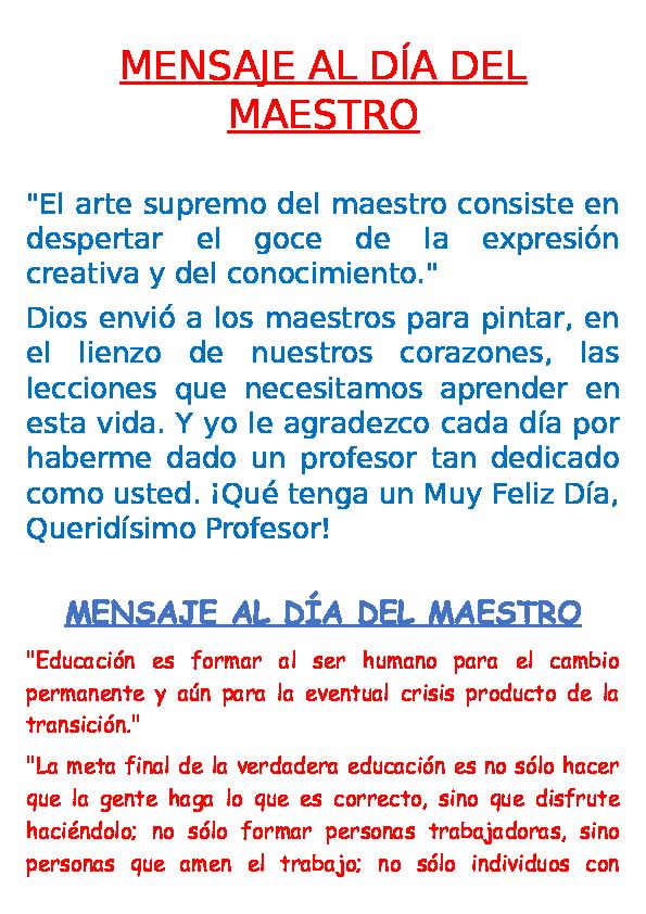 Doc Mensaje Al Día Del Maestro Jhonchy Calderon Academiaedu