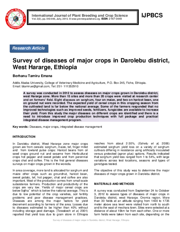 PDF) Survey of diseases of major crops in Darolebu district