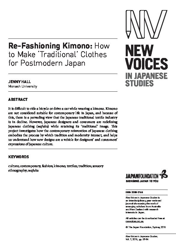 PDF) Re-fashioning kimono: how to make 'traditional' clothes