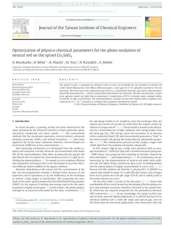 PDF) Optimization of physico-chemical parameters for the photo