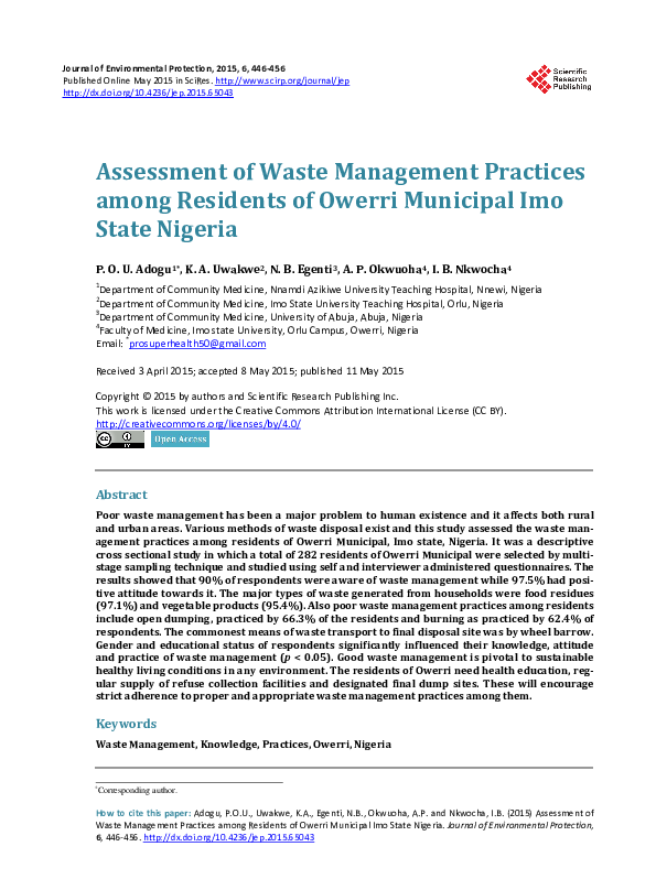 PDF) Assessment of Waste Management Practices among Residents of