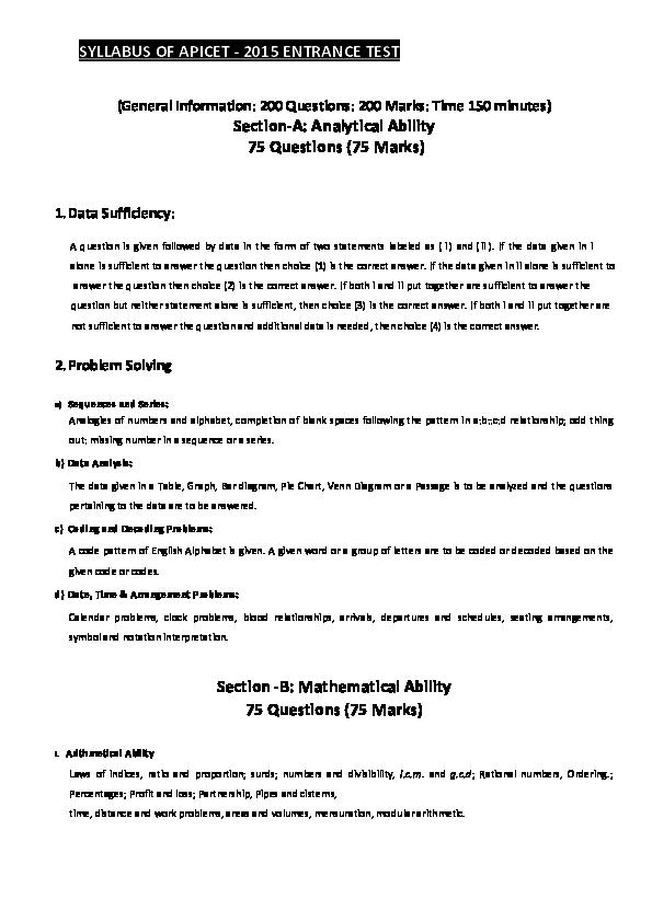 Syllabus and Test Pattern ICET | VADIRAJ TANJORE - Academia edu
