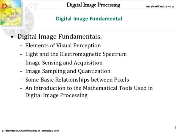 PDF) Digital Image Fundamental • Digital Image Fundamentals