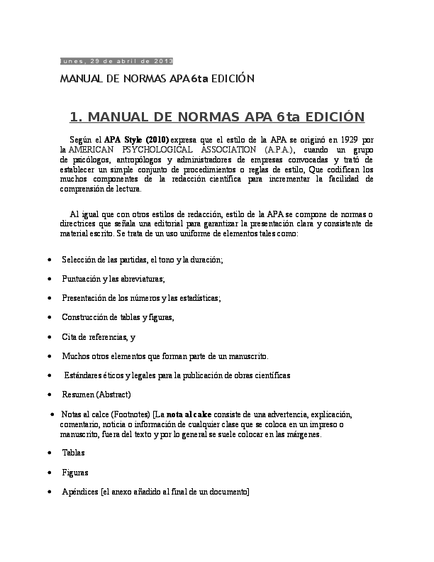 Doc Normas Apa 6ta Edicion Charlie Quiroz Academia Edu