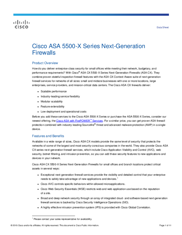 PDF) Cisco ASA 5500-X Series Next Generation Firewalls Data Sheet