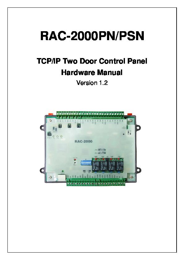 PDF) RAC-2000PN/PSN TCP/IP Two Door Control Panel Hardware