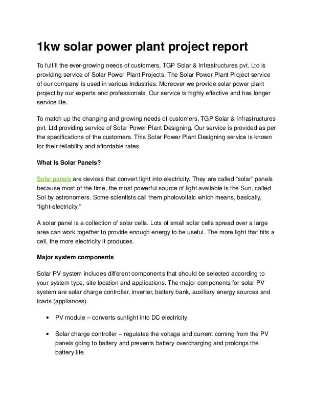 DOC) 1 kw solar power plant project report | shahajirao kale