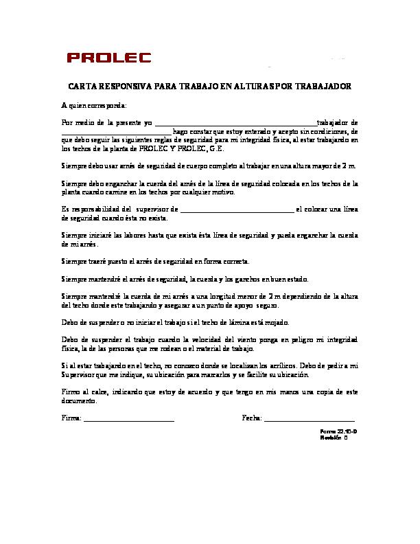 Pdf Carta Responsiva Para Trabajo En Alturas Por Trabajador