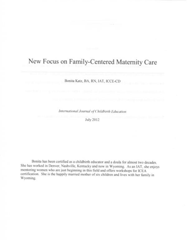 Pdf New Focus On Family Centered Maternity Care Bkatz 2012001 Bonita Katz Academia Edu