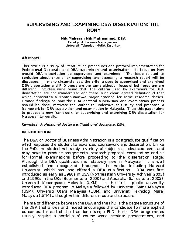 dba dissertation