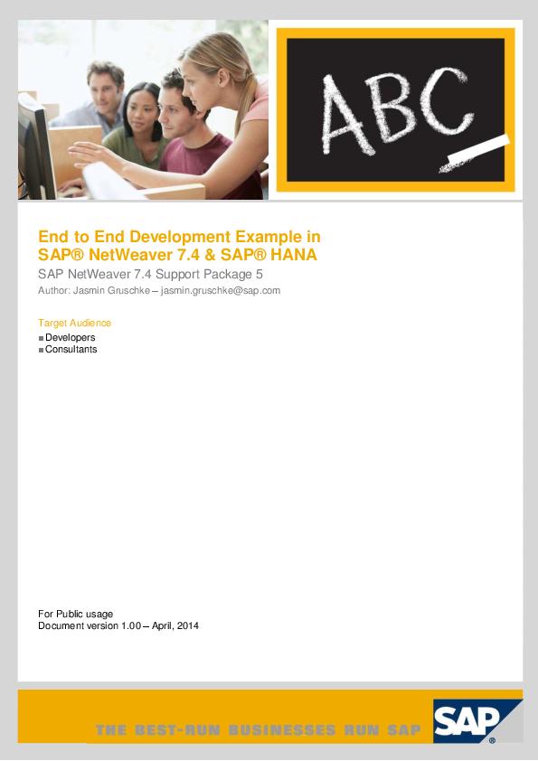 PDF) End to End Development Example in SAP® NetWeaver 7 4 & SAP