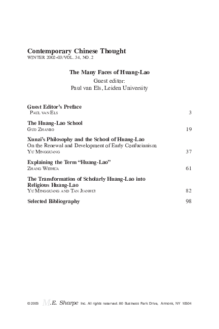 PDF) The Many Faces of Huang-Lao | Paul van Els - Academia edu