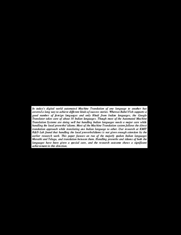 PDF) TRANSLATION OF TELUGU-MARATHI AND VICE-VERSA USING RULE