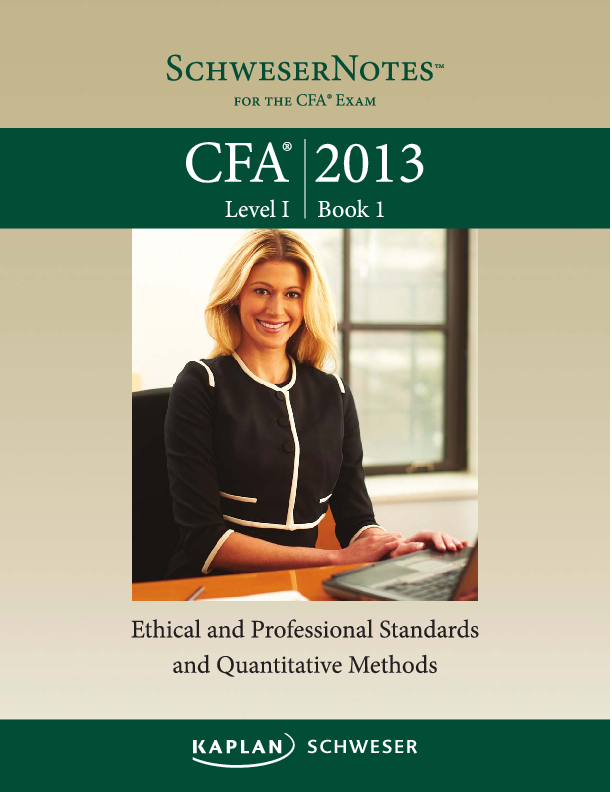 PDF) BooK 1 -ETHICAL AND PROFESSIONAL STANDARDS AND QuANTITAT IVE ME