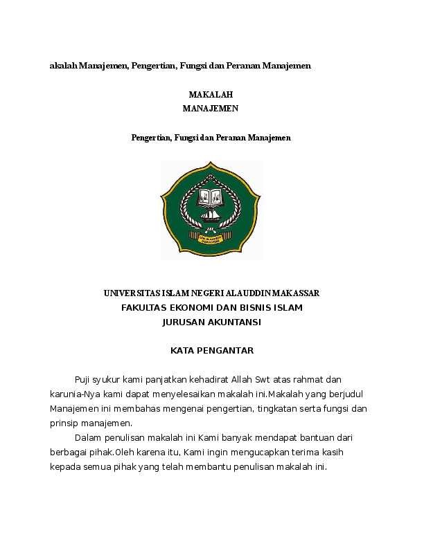Doc Makalah Manajemen Pengertian Fungsi Dan Peranan Manajemen Fistiadin Madiara Academia Edu