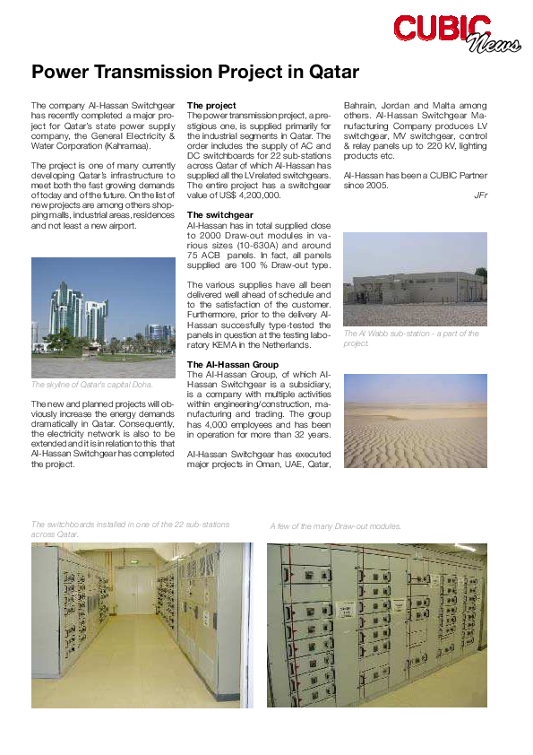 PDF) News Power Transmission Project in Qatar | Rakesh Nair