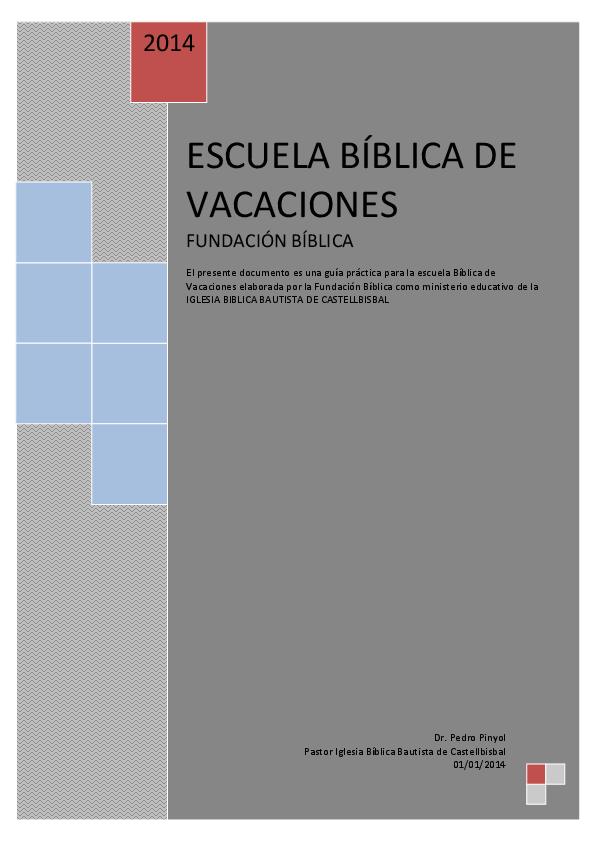 Pdf Escuela Bíblica De Vacaciones Manual Peter Pinyol