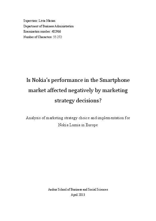 PDF) Nokia marketing strategy | আরিফ বতুতা