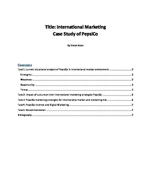 PDF) International Marketing Case Study of PepsiCo | Shekh Farid