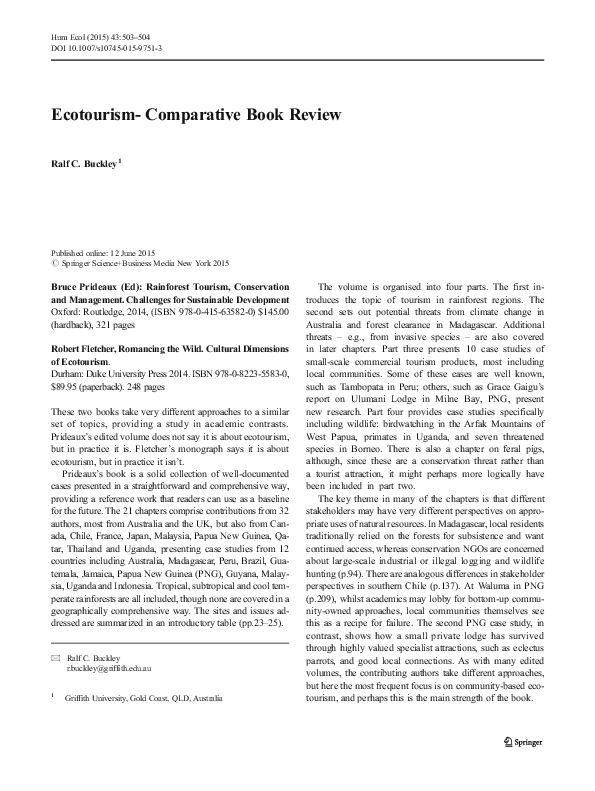 Ecotourism - Comparative Book Review | Ralf C Buckley
