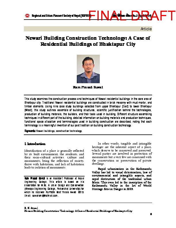 PDF) Newari Building Construction Technology: A Case of