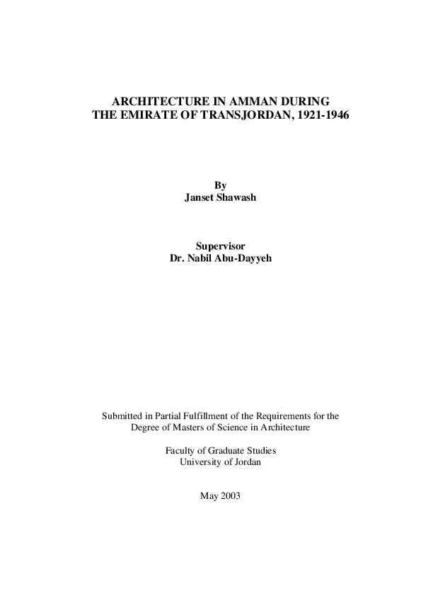 PDF) Architecture in Amman during the Emirate period