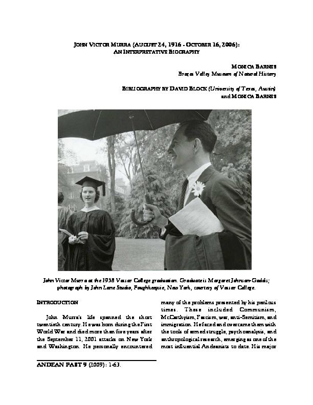 Pdf John Victor Murra August 14 1916 October 16 2006 An Interpretative Biography Monica Barnes Academia Edu