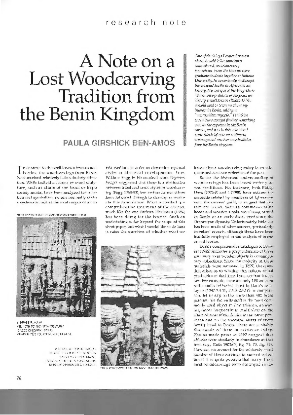 PDF) A Note on a Lost Woodcarving Tradition from the Benin Kingdom