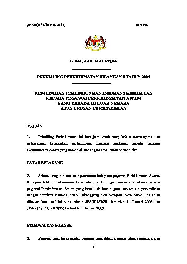 Pdf Borang Permohonan Insuran Ke Luar Negara Persendirian Lampiran A Dan B Smk Permasjaya Academia Edu
