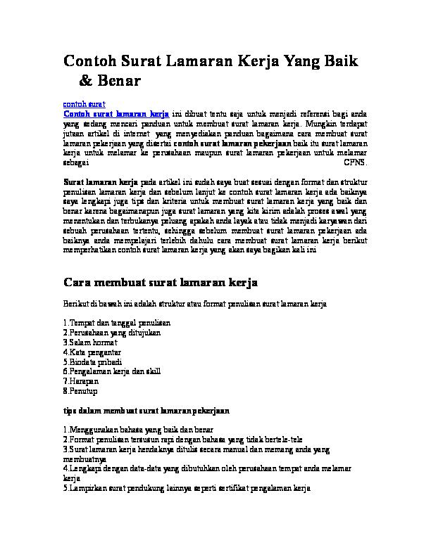 Doc Contoh Surat Lamaran Kerja Yang Baik Benar Puji
