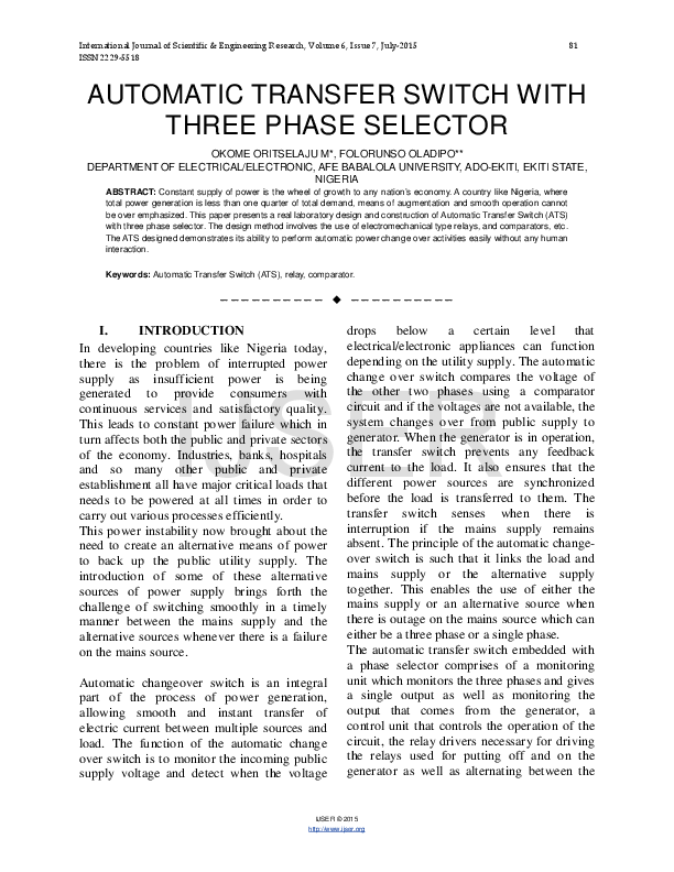 PDF) AUTOMATIC TRANSFER SWITCH WITH THREE PHASE SELECTOR
