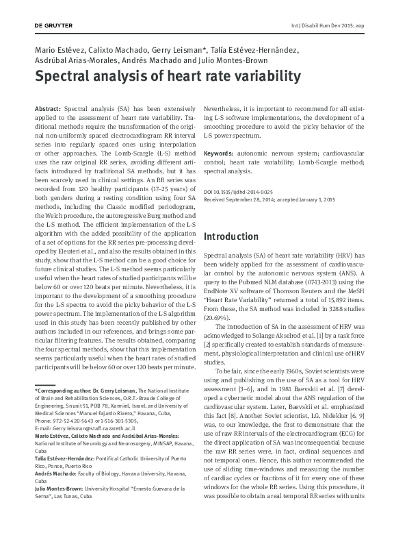 PDF) Spectral analysis of heart rate variability | Gerry
