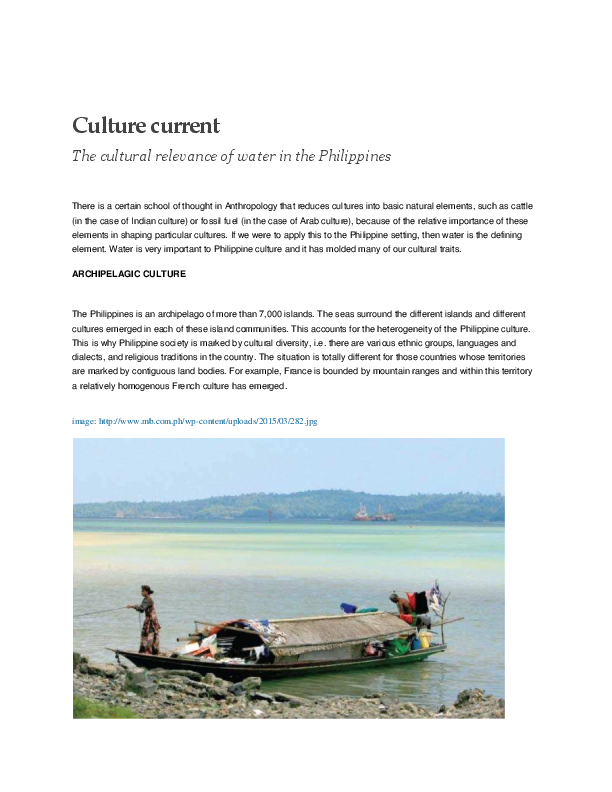 PDF) Culture Current: The cultural relevance of water in the