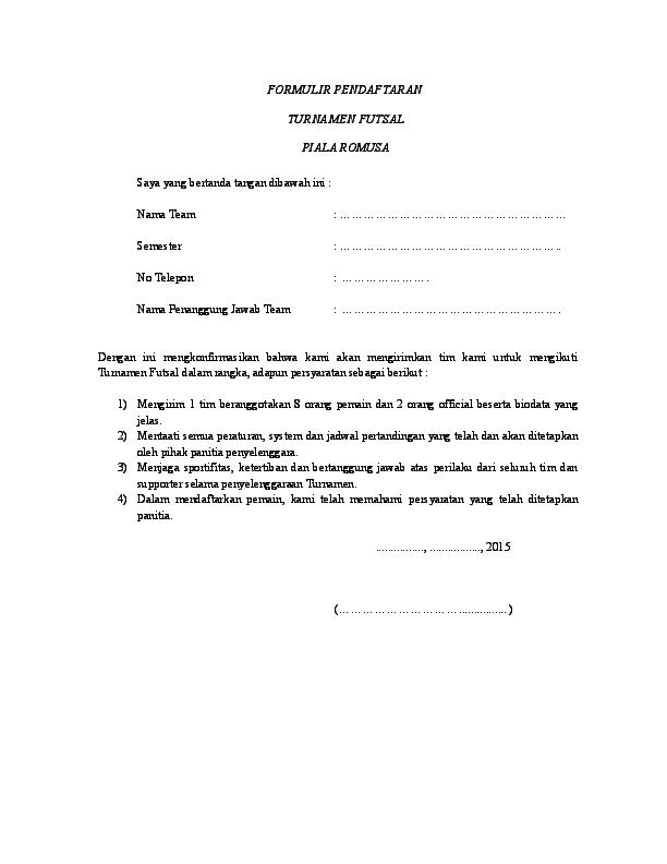 Doc Formulir Futsal Angga Hardiawan Academiaedu
