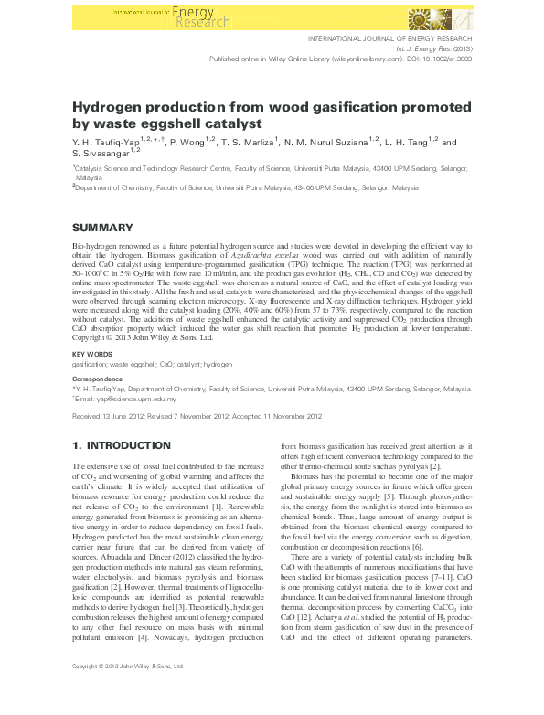 PDF) Hydrogen production from wood gasification promoted by