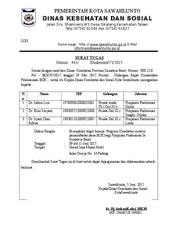 Doc Contoh Surat Tugas Satker Dinkessosswl Academiaedu