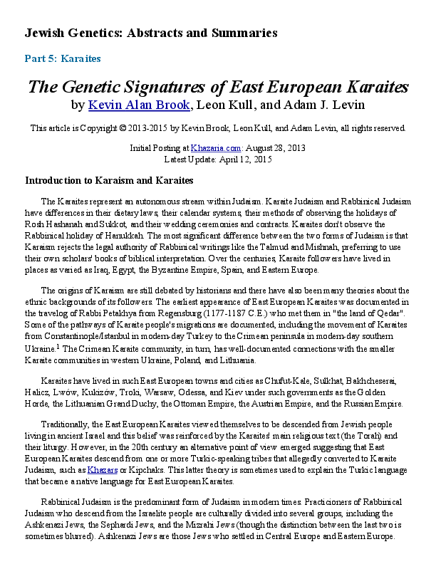PDF) The Genetic Signatures of East European Karaites | Leon Kull