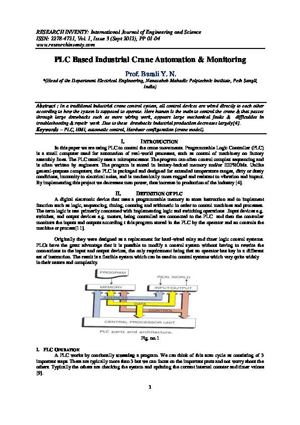 PDF) PLC Based Industrial Crane Automation & Monitoring