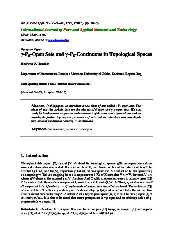 PDF) $\ gamma$-$P_S$-Open Sets and $\ gamma$-$P_S