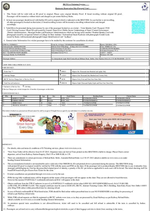 PDF) IRCTCs e-Ticketing Service Electronic Reservation Slip