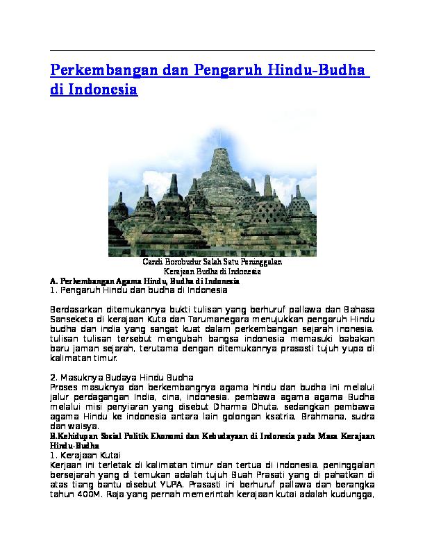 Doc Perkembangan Dan Pengaruh Hindu Budha Di Indonesia Pace Kabelen Academia Edu